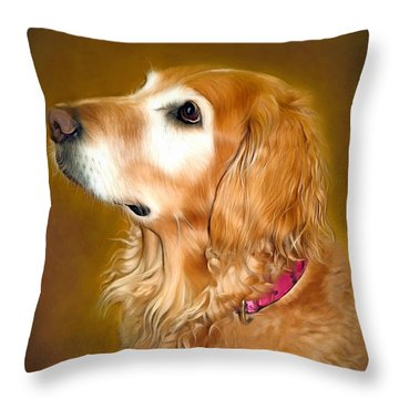 Holly Throw Pillow by Marion Johnson