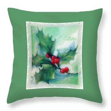 Throw Pillow featuring the photograph Holly Sprig by Ellen O'Reilly