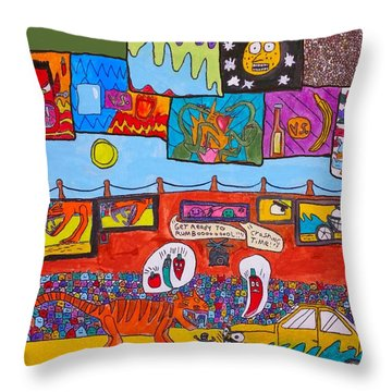 Throw Pillow featuring the painting Holly World by Artists With Autism Inc
