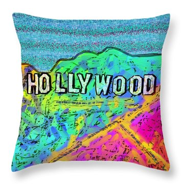 Hollycolorwood Throw Pillow by Jeremy Aiyadurai