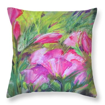 Throw Pillow featuring the painting Hollyhock Breeze by Susan Herbst