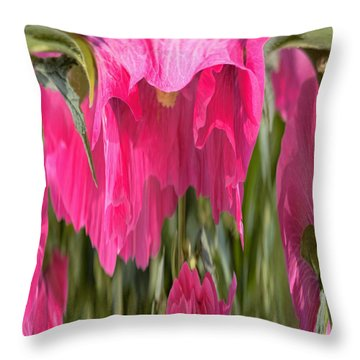 Hollyhock Drape Abstract Throw Pillow by Aliceann Carlton