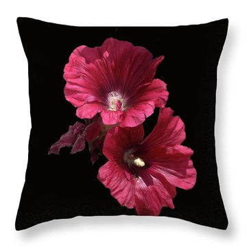 Hollyhock Glory Throw Pillow