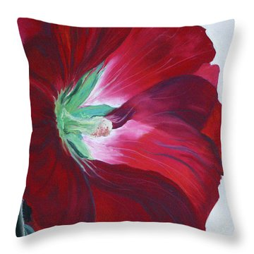 Hollyhock Throw Pillow by Jane Autry
