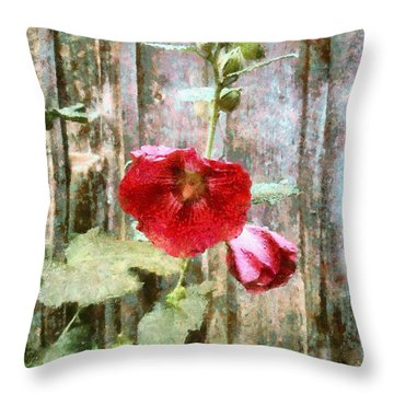 Hollyhock On Weathered Wood - Remember The Days Throw Pillow