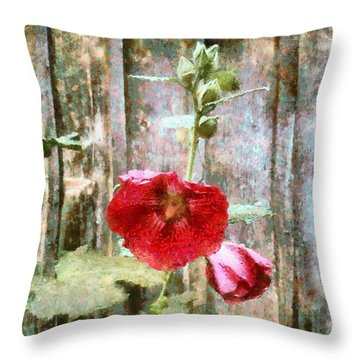 Throw Pillow featuring the photograph Hollyhock On Weathered Wood - Remember The Days by Janine Riley