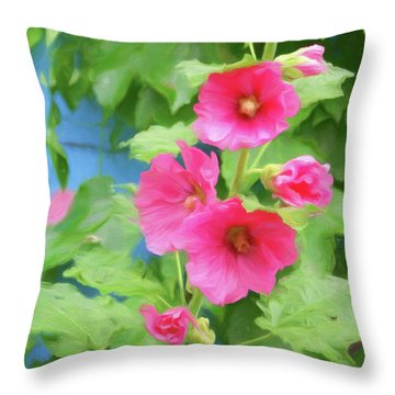 Throw Pillow featuring the photograph Hollyhocks - 1 by Nikolyn McDonald
