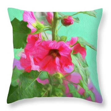 Throw Pillow featuring the photograph Hollyhocks - 2  by Nikolyn McDonald