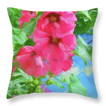 Hollyhocks - 3 Throw Pillow