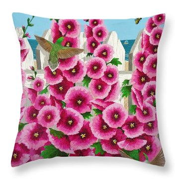 Hollyhocks And Humming Birds Throw Pillow