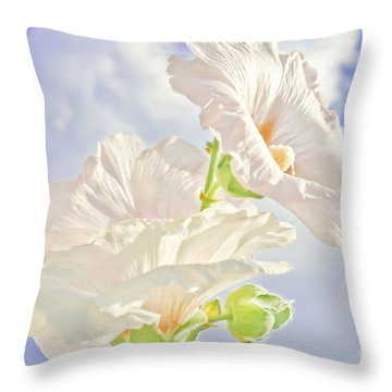 Hollyhocks And Sky Throw Pillow