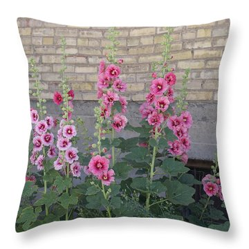 Throw Pillow featuring the photograph Hollyhocks by Cynthia Powell