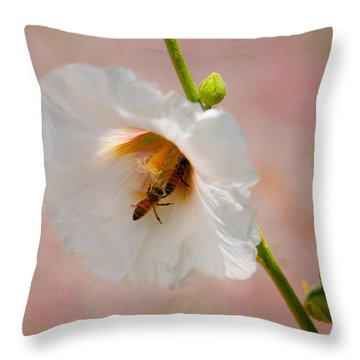 Hollyhocks For Dinner Throw Pillow by Carolyn Dalessandro