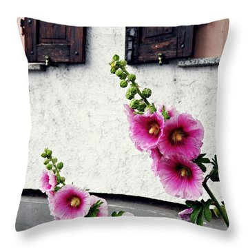 Hollyhocks In Schierstein 1 Throw Pillow