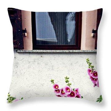 Hollyhocks In Schierstein 2 Throw Pillow