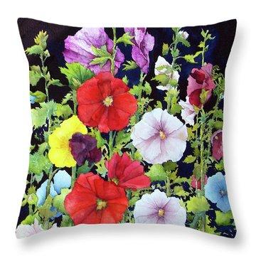 Hollyhocks Throw Pillow