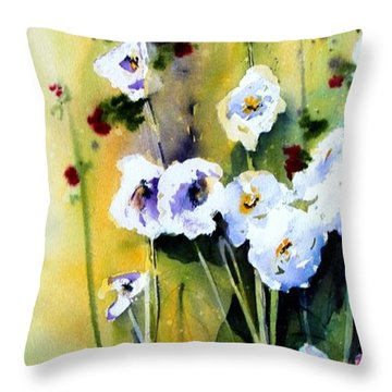 Throw Pillow featuring the painting Hollyhocks by Marti Green