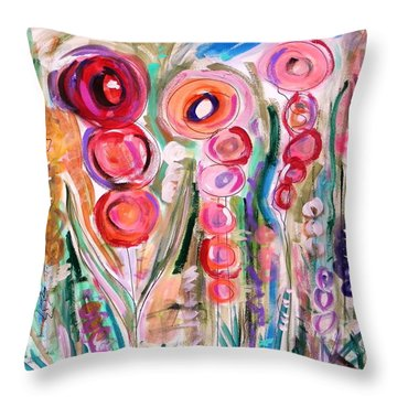 Throw Pillow featuring the painting Hollyhocks Of The Garden by Mary Carol Williams