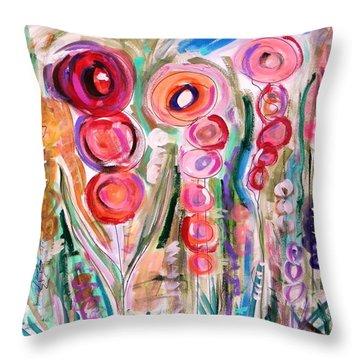 Hollyhocks Of The Garden Throw Pillow
