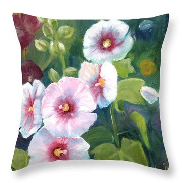 Throw Pillow featuring the painting Hollyhocks by Renate Nadi Wesley