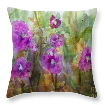 Hollyhocks Throw Pillow by Vicki  Housel