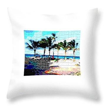 Hollywood Beach Fla Digital Throw Pillow by Dick Sauer