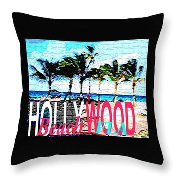 Hollywood Beach Fla Poster Throw Pillow by Dick Sauer