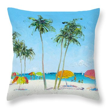 Hollywood Beach Florida And Coconut Palms Throw Pillow