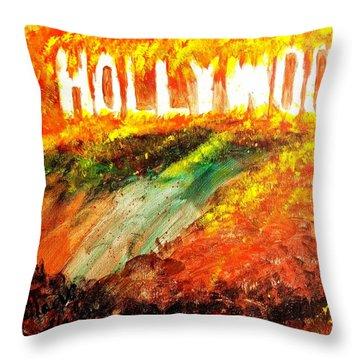 Hollywood Burning Throw Pillow