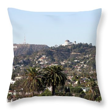 Hollywood Hills From Sunset Blvd Throw Pillow