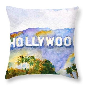 Hollywood Sign California Throw Pillow