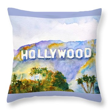 Hollywood Sign California Throw Pillow
