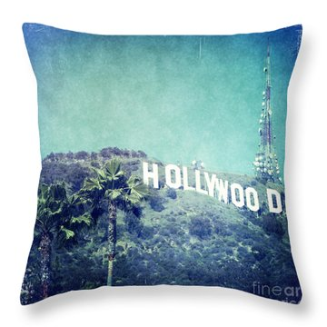 Hollywood Sign Throw Pillow by Nina Prommer