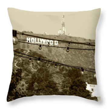 Throw Pillow featuring the photograph Hollywood Sign On The Hill 4 by Micah May