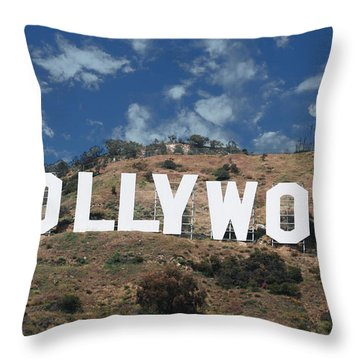 Hollywood Sign Throw Pillow by Robert Hebert
