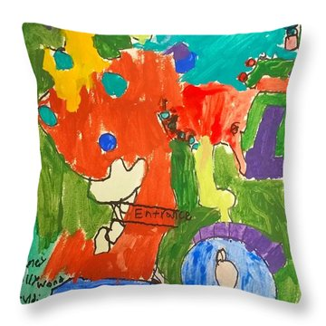 Throw Pillow featuring the painting Hollywood Studios by Artists With Autism Inc