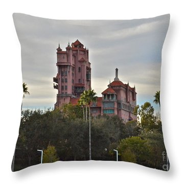 Hollywood Studios Tower Of Terror Throw Pillow by Carol  Bradley
