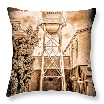 Hollywood Water Tower Throw Pillow