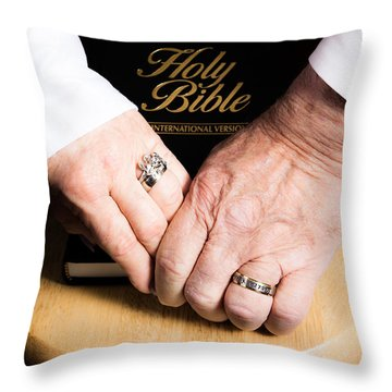 Holy Bible Throw Pillow by Lawrence Burry