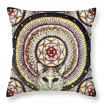 Throw Pillow featuring the painting Holy Cat by Kym Nicolas