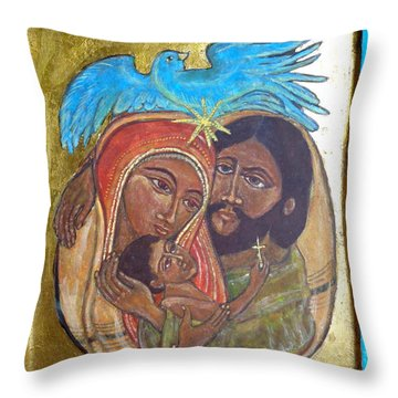 Holy Family In Azure And Gold Throw Pillow