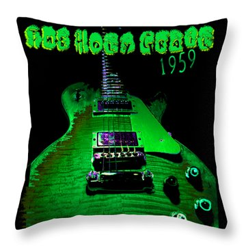 Throw Pillow featuring the photograph Holy Grail 1959 Retro Relic Guitar by Guitar Wacky