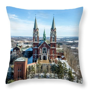 Throw Pillow featuring the photograph Holy Hill In The Snow by Randy Scherkenbach