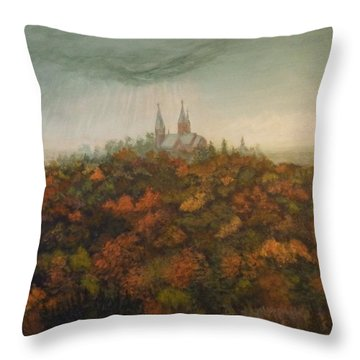 Holy Hill Rain Storm Throw Pillow