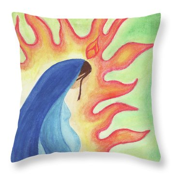 Throw Pillow featuring the drawing Holy Mary by Betsy Hackett