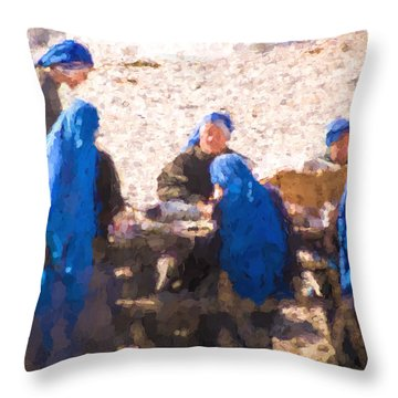 Holy Picnic  At The Beach Throw Pillow