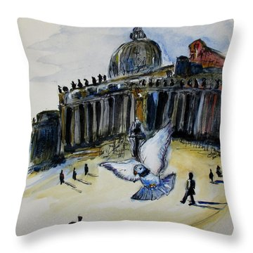 Holy Pigeons Throw Pillow