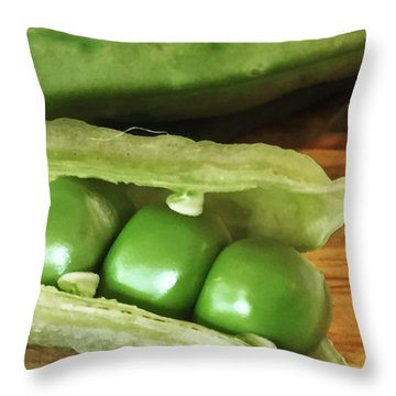 Peas Throw Pillow by Nancy Ingersoll