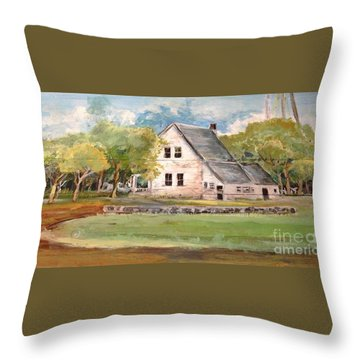 Throw Pillow featuring the painting Home Again by Linda Shackelford