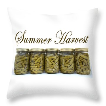 Home Canned Green Beans Summer Harvest Throw Pillow
